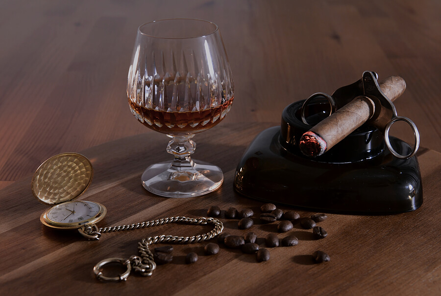 A set of stylish accessories for cigar smoking.
