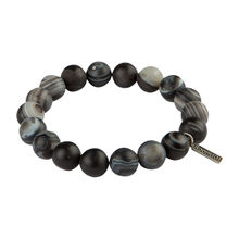 Stainless Beads Grey Agate 10MM Bracelet, , jrcigars