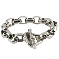 Stainless Octa Link Large 8.5 In. Bracelet, , jrcigars