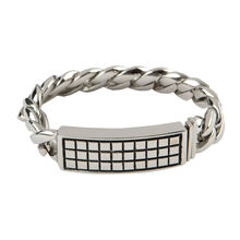 Stainless Raised Checker 8.5 In. Bracelet, , jrcigars