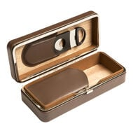 Brown 3 Cigar Case with Cutter, , jrcigars