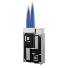 Prestige Silver and Black Dual Flame Lighter, , jrcigars