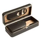 Black 3-Cigar Case w/ Cutter, , jrcigars