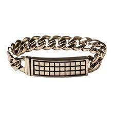 Stainless Raised Checker 9.5 In. Bracelet, , jrcigars