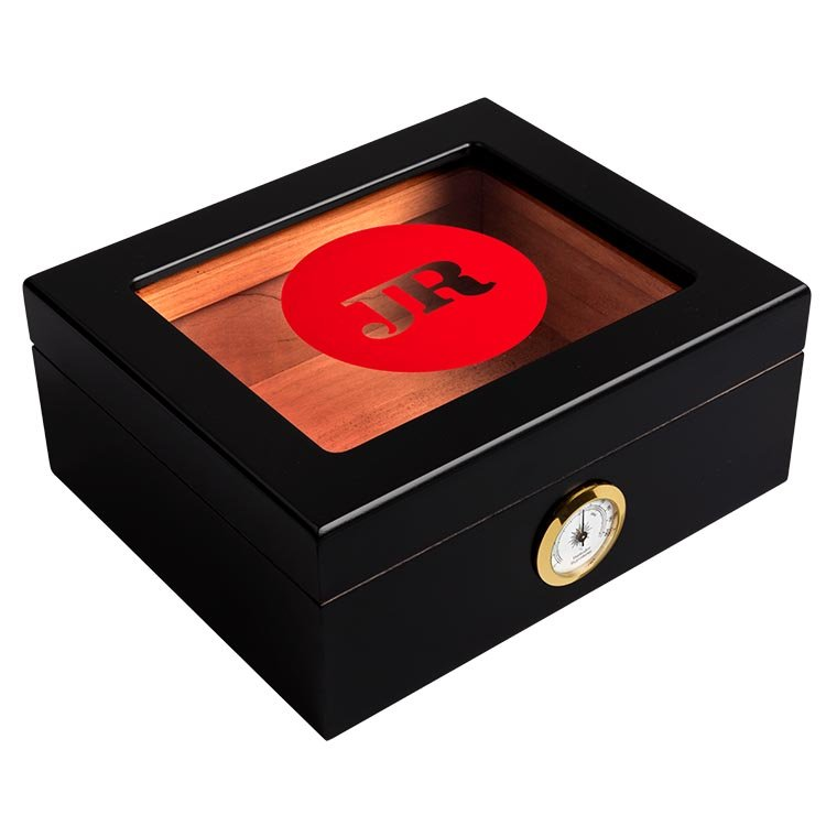 JR Glass-Top Wood Humidor With Hygrometer, , large