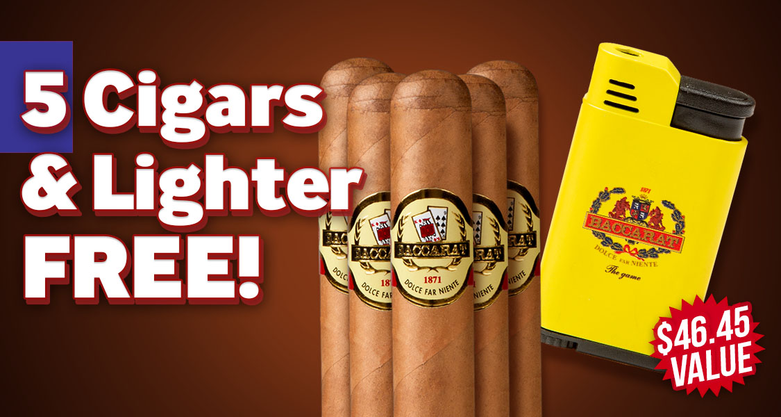 5 Baccarat Cigars & Lighter Free